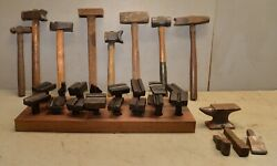 70 Lbs Blacksmith Tool Lot Hardy Forming Stake Anvil Creaser Hammer Collectible