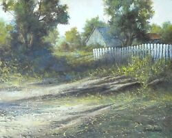 Old Pickets Original Carlson Listed Contemporary Realism Landscape Framed Art