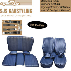 Seat Covers + Back Seat Foldable + Seat Belts For Mercedes Sl R/w107, Blue