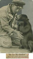 Zoo Keeper With Small Bear Antique Photo