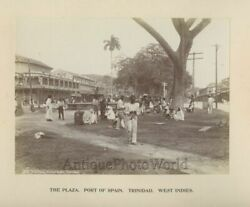 Port Of Spain Trinidad Plaza View Shops Native People Antique Photo Caribbean