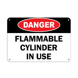 Horizontal Metal Sign Multiple Sizes Danger Flammable Cylinder In Use Hazard