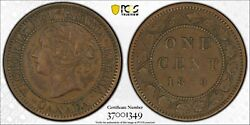 Canada Victoria Double Punched Narrow 9, Type 1 Cent 1859 Pcgs Xf40