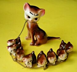 1950#x27;s quot;Cat with Nine Livesquot; 8 Kittens on Chain Made in Japan Figurines