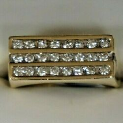 Ri2 14k Yellow Gold Ring With 30 Diamonds .90ctw - 22.0g - Size 15 - 10.7mm