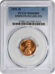 1951-d Lincoln Cent Fs-512 Omm Ms66red Pcgs