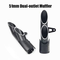 38-51mm Double Outlet Exhaust Pipe Universal Muffler End Tip Aluminum Motorcycle