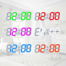 Modern Digital 3D LED Wall Clock USB Large Alarm Clock Snooze 12 24 Hour Display