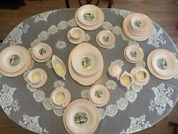 Vintage Thanksgiving/christmas Theme Currie And Ives Dishes 6 - 8 Settings Rare