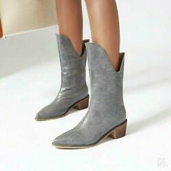 Snakeskin Womenand039s Mid Calf Boots Rock Shoes Cowboy Low Heel Pointy Toe Motor Hot