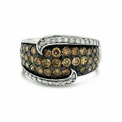 Levian 14k White Gold Round Chocolate Brown Diamond Cluster Cocktail Ring