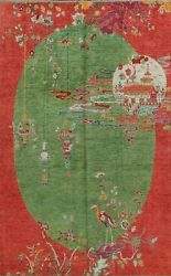Pictorial Green Art Deco Chinese Oriental Area Rug Hand-knotted Living Room 8x10