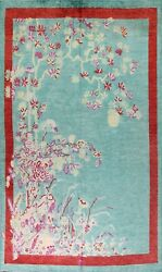 Aqua Green Art Deco Nichols Chinese Oriental Area Rug Hand-knotted 9and039x12and039 Carpet