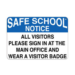 Horizontal Metal Sign Multiple Sizes Notice Welcome Visitors Register Office B