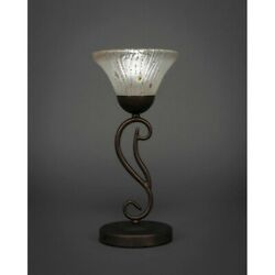 Toltec Lighting Olde Iron Mini Table Lamp 7andacircandeuro Frosted Crystal Glass - 44-brz-7