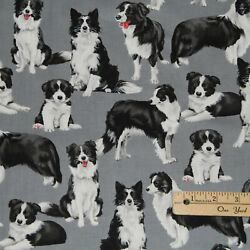 Border Collie Dogs Dog Cotton Fabric 1 2 Yard #C7365