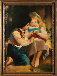 Alberto Rossi 1858-1936 - Early 20th Century Oil Knitting Lessons