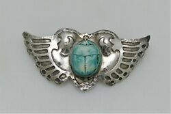 Marshall Field Handwrought Arts And Crafts Sterling Silver Scarab Wings Pin 1920