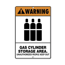 Vertical Metal Sign Multiple Sizes Warning Gas Cylinder Storage Area Authorized