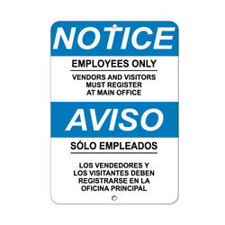 Vertical Metal Sign Multiple Sizes Employees Only... Vendors Visitors Register