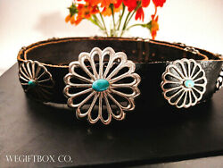 Sterling Silver Concho Belt Navajo Indian Sandcast Sleeping Beauty Turquoise C.m