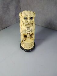 Antique Chinese Dragon Tiger Dog Monster Statue Signed 8 Resin Carved
