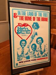 Big 11x17 Framed Gladys Knight Andthe Pips 1976 We Love You America Lp Promo Ad