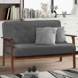 Modern Solid Loveseat Sofa Upholstered Fabric 2-seat Couch Wooden Handrail Grey