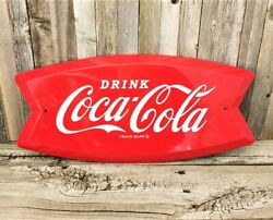 Coca Cola Coke Soda Pop Fishtail 19 Embossed Metal Tin Sign Red Vintage New