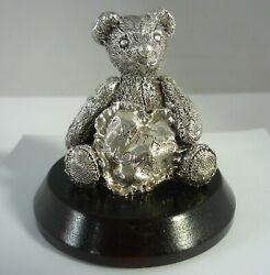 Stunning Vintage Sterling Silver With Love Teddy Bear By Harmon Brothers