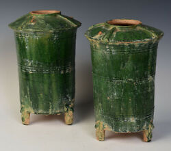 Han Dynasty, A Pair Of Antique Chinese Green Glazed Pottery Granary Jars