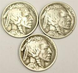 1916 1916d 1916s Buffalo Nickels All Three Coins Are Almost Vf