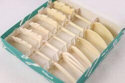 Beautifully Carved Bone Bovine Cocktail Forks Spoons Set Of Six In Box