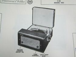 Vm Voice Of Music 985 Phonograph / Record Player Photofact