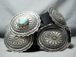 Newsworthy Navajo 8 Turquoise Mine Sterling Silver Concho Belt Native American