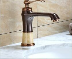 European Antique Jade Stone Brass Hot Cold Mixed Water Basin Bathroom Faucets