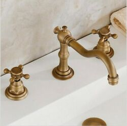 3 Holes All Brass Vintage Cold Hot Water Bathroom Basin Water Tap Faucets