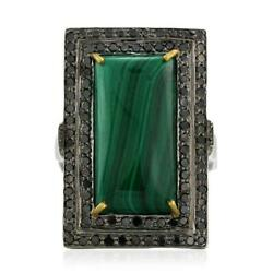 925 Silver Prong Set Malachite Diamond Gemstone Vintage Cocktail Ring For Her