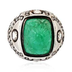 Handcarved Emerald Gemstone Studded Diamond 18k White Gold Dome Ring Gift