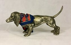 Vintage Made In Italy Dashund Iron Art Figurine W/scarf Mint Collectible