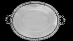 Monumental Early English Pierced Silverplate Handled Waiter Tray 36 By 24 1/2
