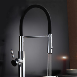 Chrome With Black Kitchen Faucets Kitchen Sink Dual Sprayer Nozzle Deck Mounted
