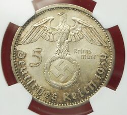 Ngc Ms-63 Nazi Swastika 1939-a 5 Reichsmark Silver Coin-germany 3rd-reich Mint