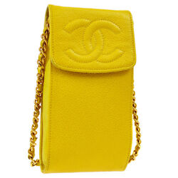Auth Cc Chain Shoulder Bag Phone Case Yellow Caviar Skin Leather V31310