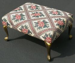 Vintage Queen Anne Style Beautiful Floral Tapestry Padded Foot Rest - Very Good