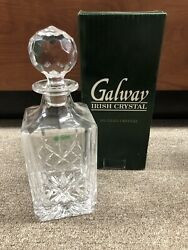 Galway Irish Crystal Crafted Longford Square Decanter Made In Ireland New W/ Box