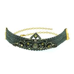 925 Sterling Silver Pave Diamond Crown Design Choker Necklace Vintage Jewelry