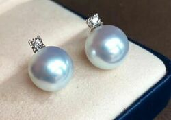 Queen 11-12mm Aus South Sea Pearl Earring 18k Solid Gold Diamond Japan Order