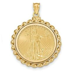 14k Twisted Wire Polished Screw Top Bezel With 1/2 Ounce American Eagle Coin