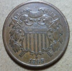 Xf 1865 2c Two Cent 1c Nice Higher Grade Rare Tough Estate Collection Penny 196